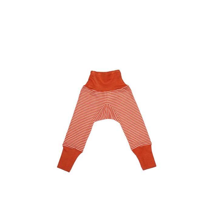 Cosilana Baby-Hose mit BUND orange geringelt 70% Merinoschurwolle / 30% Seide