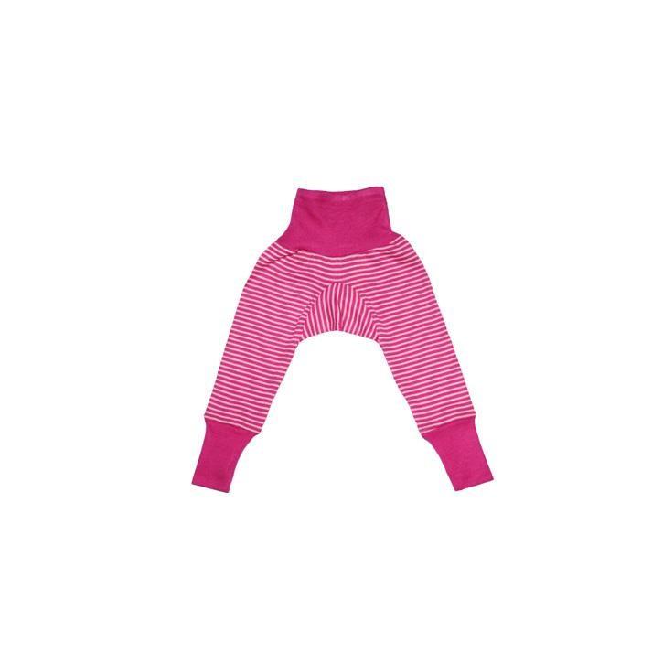 Cosilana Baby-Hose mit BUND pink geringelt 70% Merinoschurwolle / 30% Seide