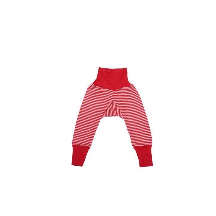 Cosilana Baby-Hose mit BUND rot geringelt 70% Merinoschurwolle / 30% Seide