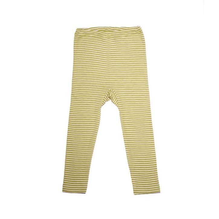 Cosilana Kinder Leggings grün geringelt 70% Merinoschurwolle / 30% Seide