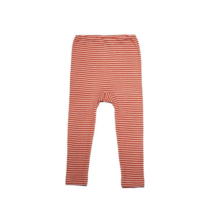 Cosilana Kinder Leggings orange geringelt 70% Merinoschurwolle / 30% Seide