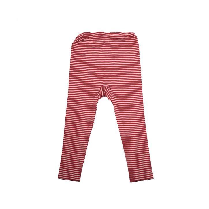 Cosilana Kinder Leggings rot geringelt 70% Merinoschurwolle / 30% Seide
