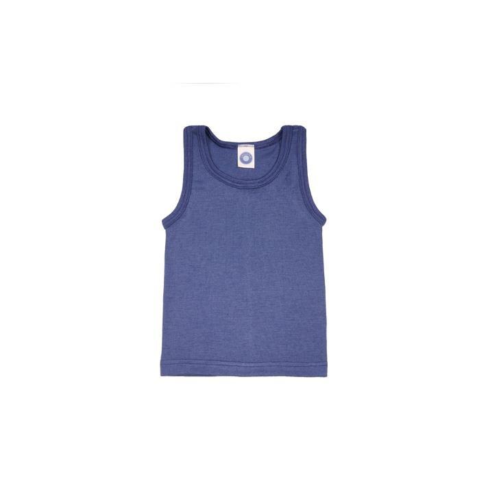 Cosilana Kinder-Unterhemd 0/Arm marine uni 70% Merinoschurwolle / 30% Seide
