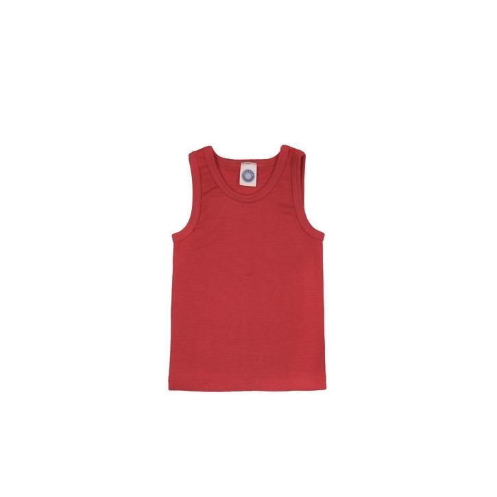 Cosilana Kinder-Unterhemd 0/Arm rot uni 70% Merinoschurwolle / 30% Seide