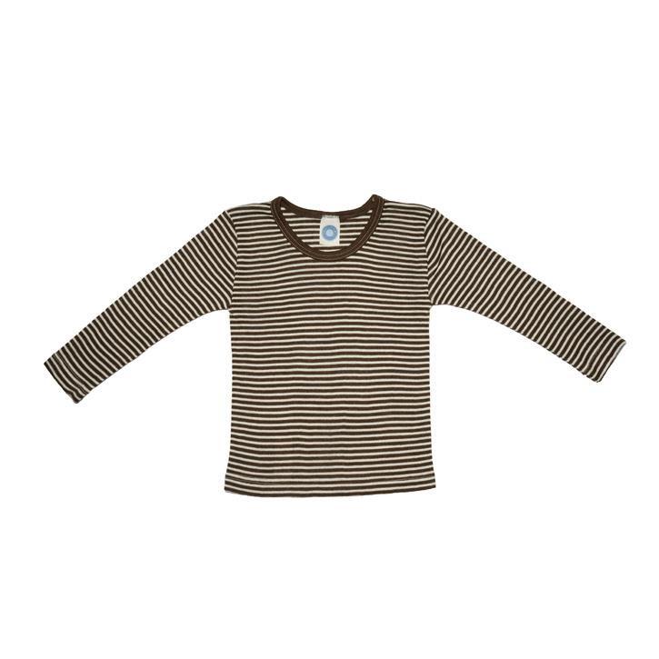 Cosilana Kinder-Unterhemd 1/1 Arm braun geringelt 70% Merinoschurwolle / 30% Seide