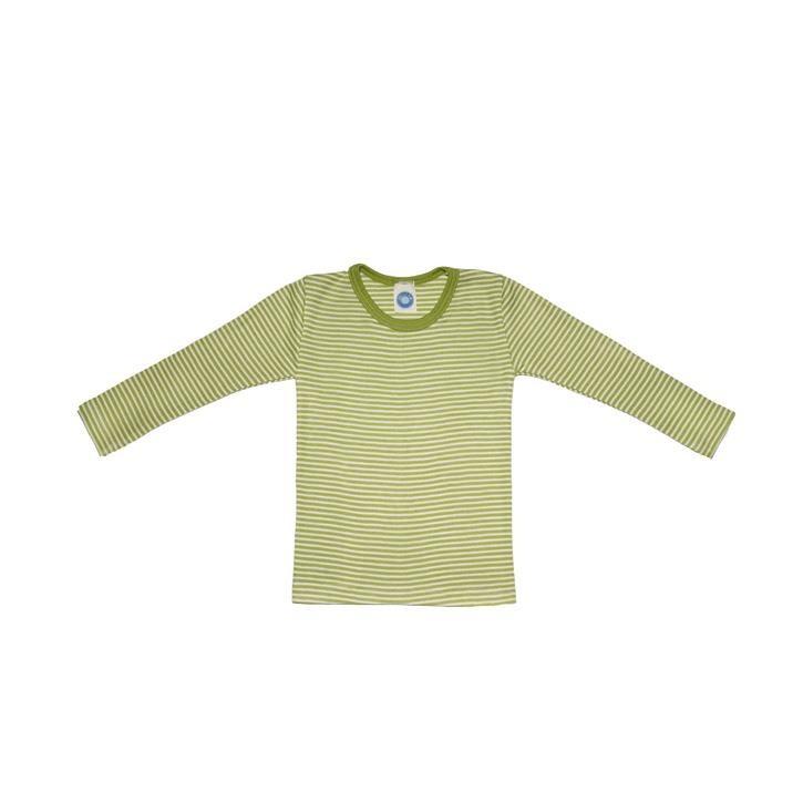 Cosilana Kinder-Unterhemd 1/1 Arm grün geringelt 70% Merinoschurwolle / 30% Seide