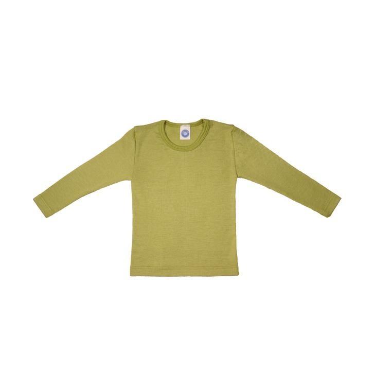 Cosilana Kinder-Unterhemd 1/1 Arm grün uni 70% Merinoschurwolle / 30% Seide