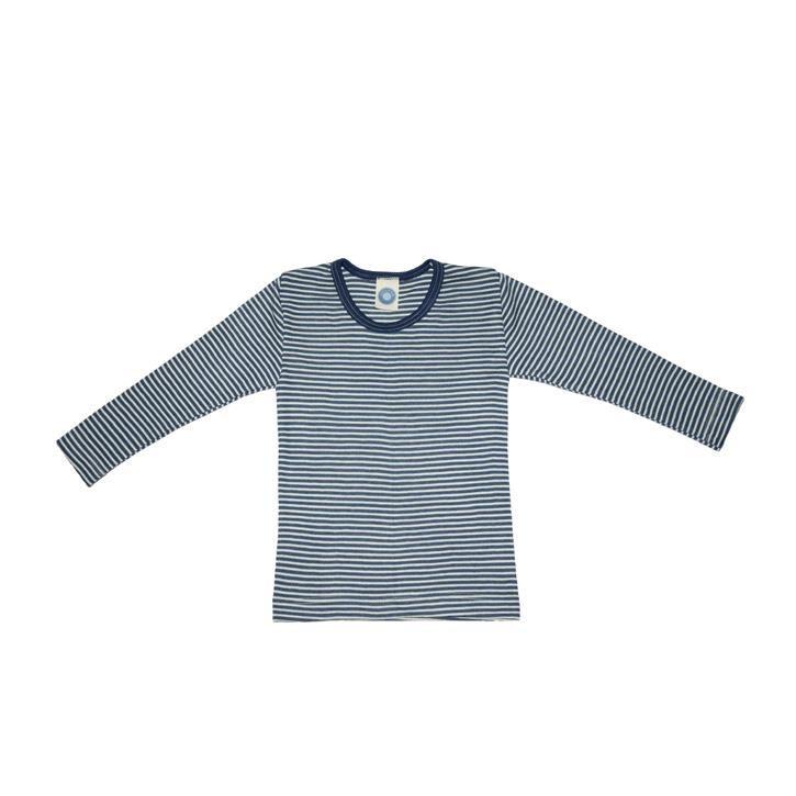 Cosilana Kinder-Unterhemd 1/1 Arm marine geringelt 70% Merinoschurwolle / 30% Seide