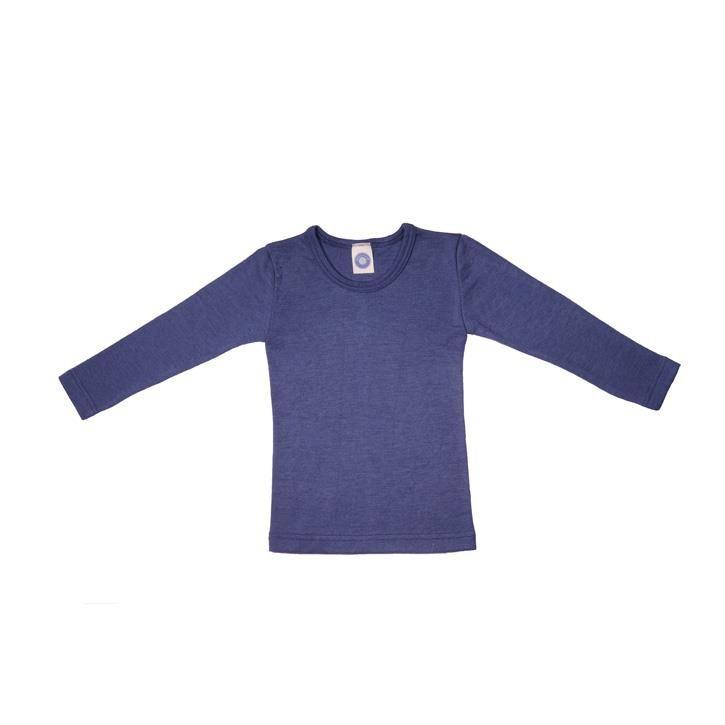 Cosilana Kinder-Unterhemd 1/1 Arm marine uni 70% Merinoschurwolle / 30% Seide