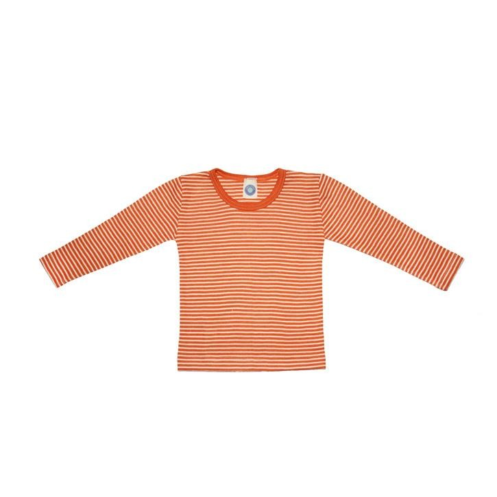 Cosilana Kinder-Unterhemd 1/1 Arm orange geringelt 70% Merinoschurwolle / 30% Seide