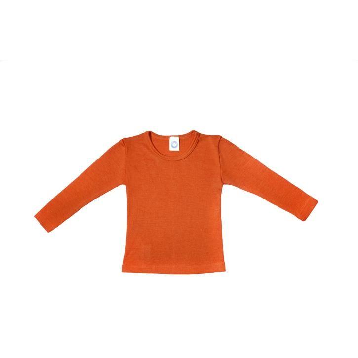 Cosilana Kinder-Unterhemd 1/1 Arm orange uni 70% Merinoschurwolle / 30% Seide