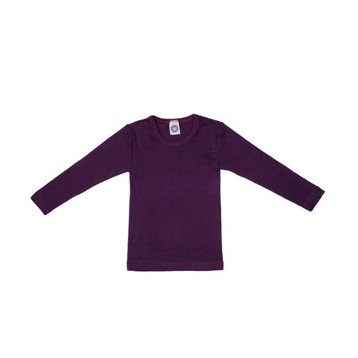Cosilana Kinder-Unterhemd 1/1 Arm pflaume  70% Merinoschurwolle / 30% Seide