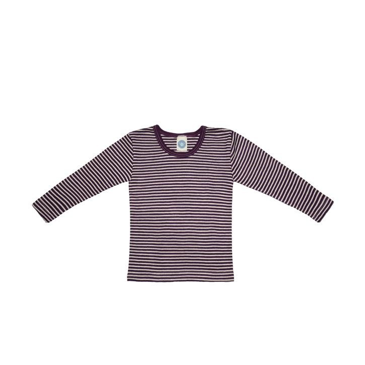 Cosilana Kinder-Unterhemd 1/1 Arm pflaume geringelt 70% Merinoschurwolle / 30% Seide