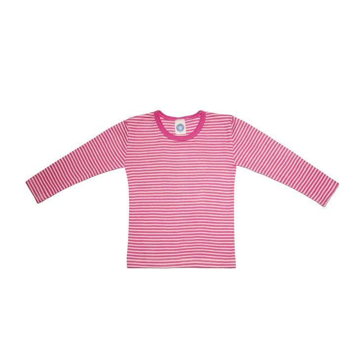 Cosilana Kinder-Unterhemd 1/1 Arm pink geringelt 70% Merinoschurwolle / 30% Seide