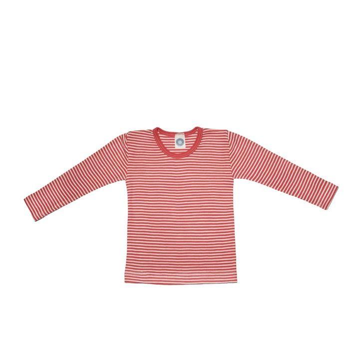 Cosilana Kinder-Unterhemd 1/1 Arm rot geringelt 70% Merinoschurwolle / 30% Seide