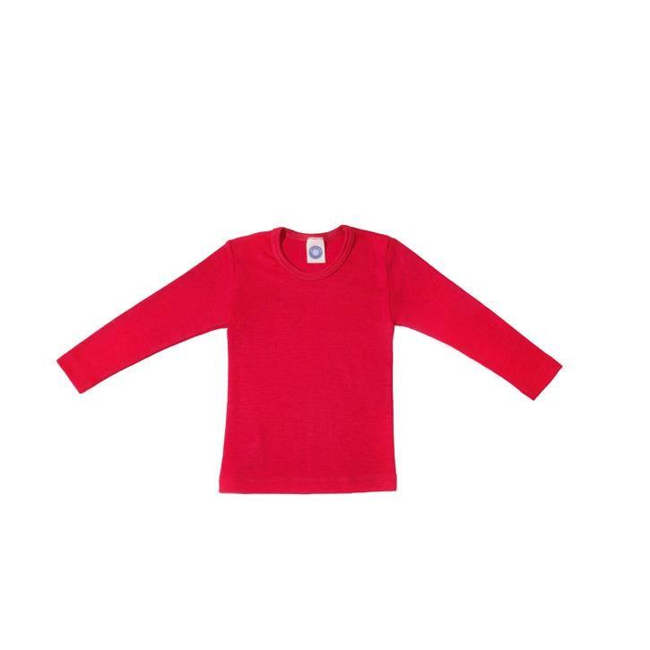 Cosilana Kinder-Unterhemd 1/1 Arm rot uni 70% Merinoschurwolle / 30% Seide