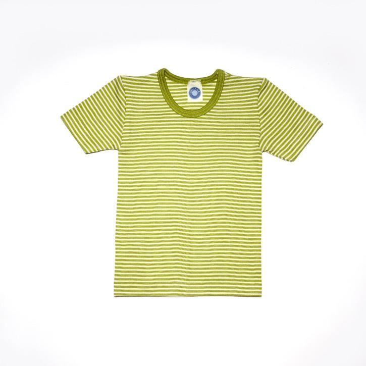 Cosilana Kinder-Unterhemd 1/4 Arm grün geringelt 70% Merinoschurwolle / 30% Seide