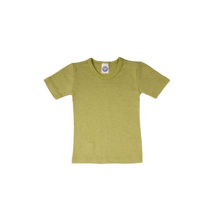 Cosilana Kinder-Unterhemd 1/4 Arm grün uni 70% Merinoschurwolle / 30% Seide