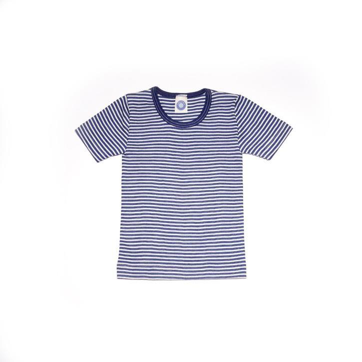 Cosilana Kinder-Unterhemd 1/4 Arm marine geringelt 70% Merinoschurwolle / 30% Seide