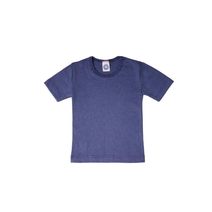 Cosilana Kinder-Unterhemd 1/4 Arm marine uni 70% Merinoschurwolle / 30% Seide