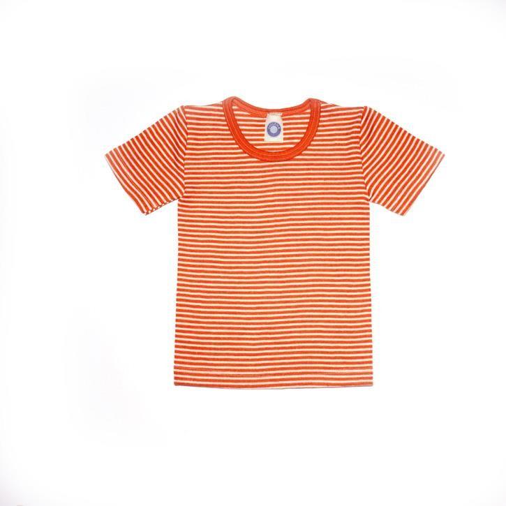 Cosilana Kinder-Unterhemd 1/4 Arm orange geringelt 70% Merinoschurwolle / 30% Seide