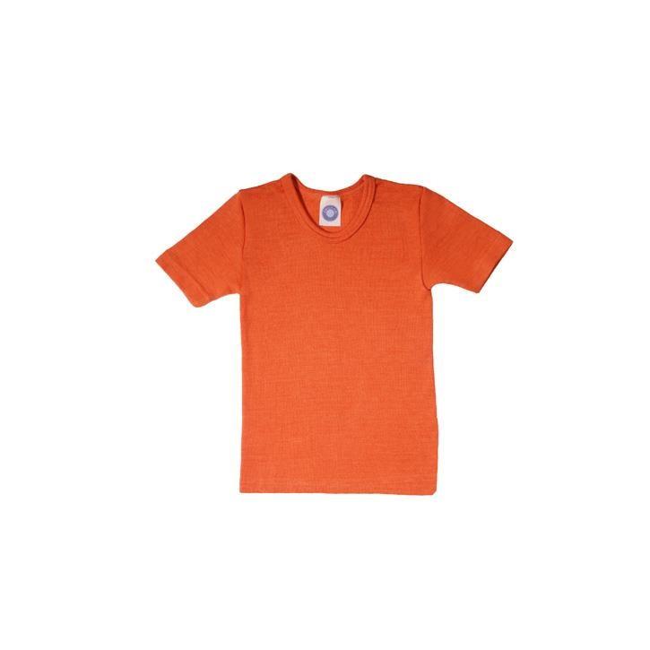 Cosilana Kinder-Unterhemd 1/4 Arm orange uni 70% Merinoschurwolle / 30% Seide