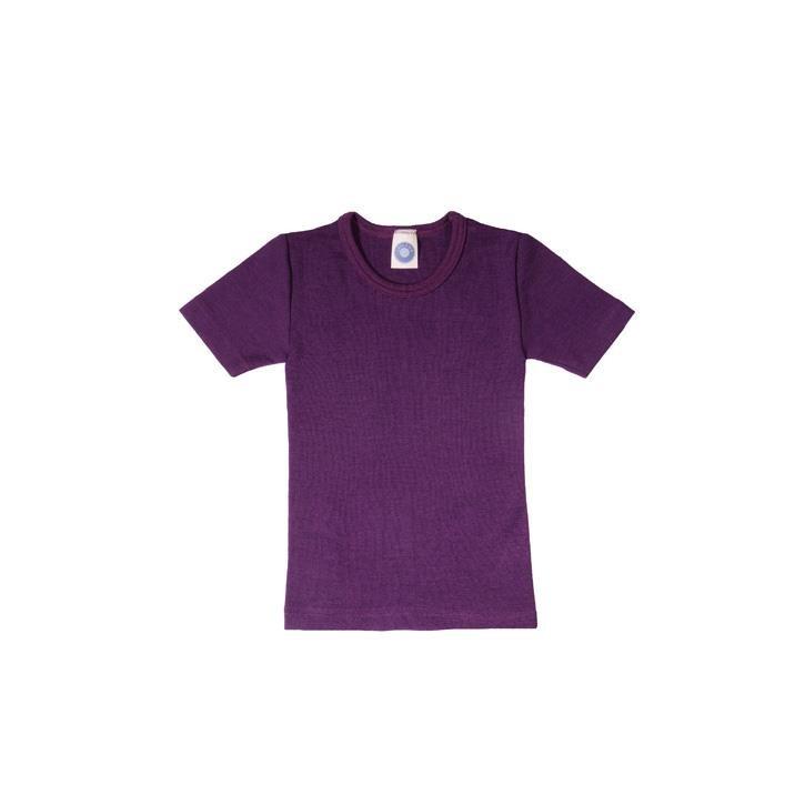 Cosilana Kinder-Unterhemd 1/4 Arm pflaume  70% Merinoschurwolle / 30% Seide