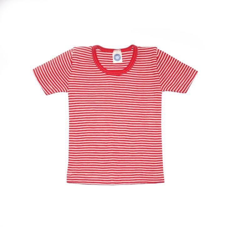 Cosilana Kinder-Unterhemd 1/4 Arm rot geringelt 70% Merinoschurwolle / 30% Seide