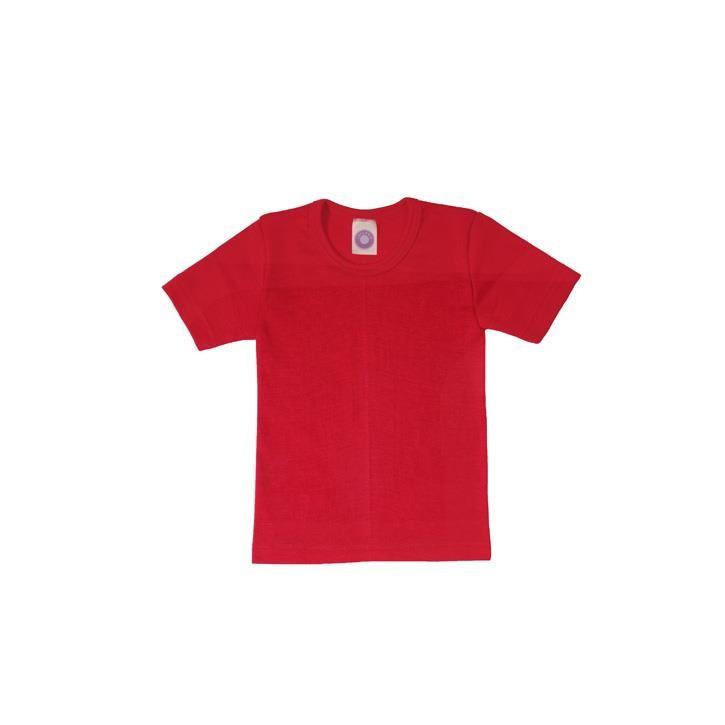 Cosilana Kinder-Unterhemd 1/4 Arm rot uni 70% Merinoschurwolle / 30% Seide