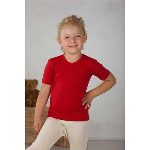 Cosilana Kinder-Unterhemd 1/4 Arm Rot Wolle/Seide