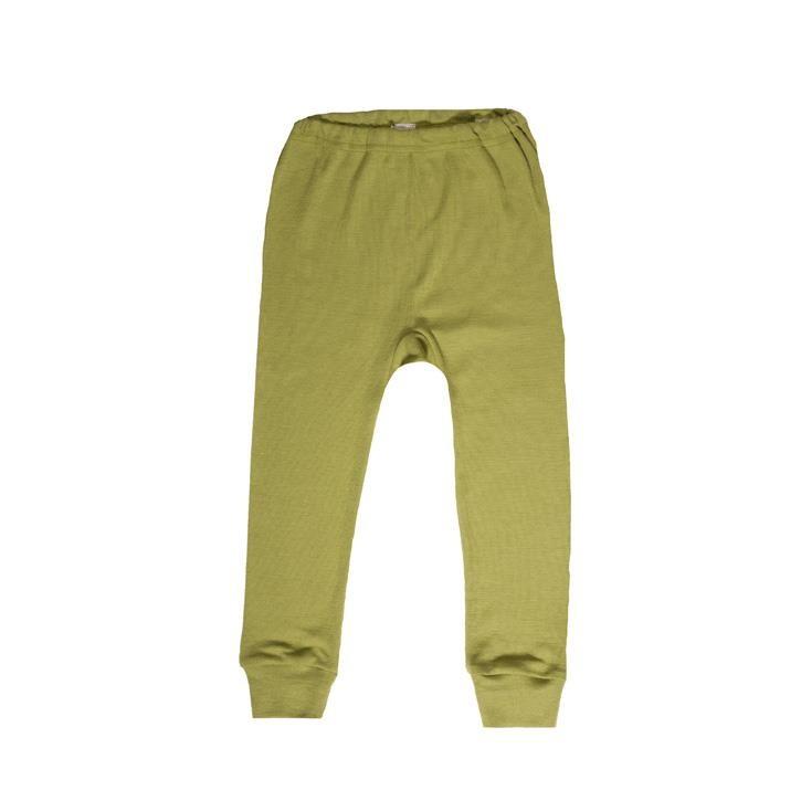 Cosilana Kinder-Unterhose lang 104 grün uni 70% Merinoschurwolle / 30% Seide