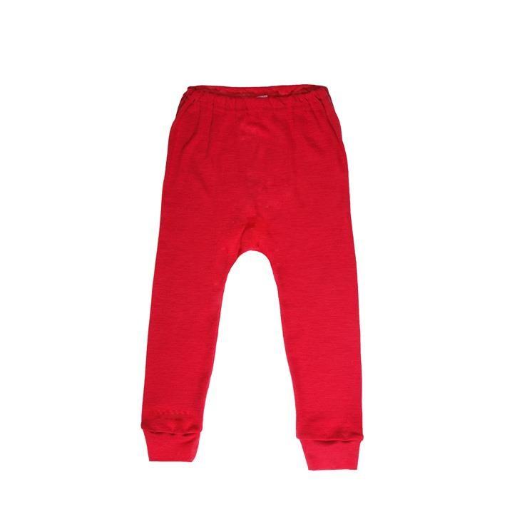 Cosilana Kinder-Unterhose lang rot uni 70% Merinoschurwolle / 30% Seide