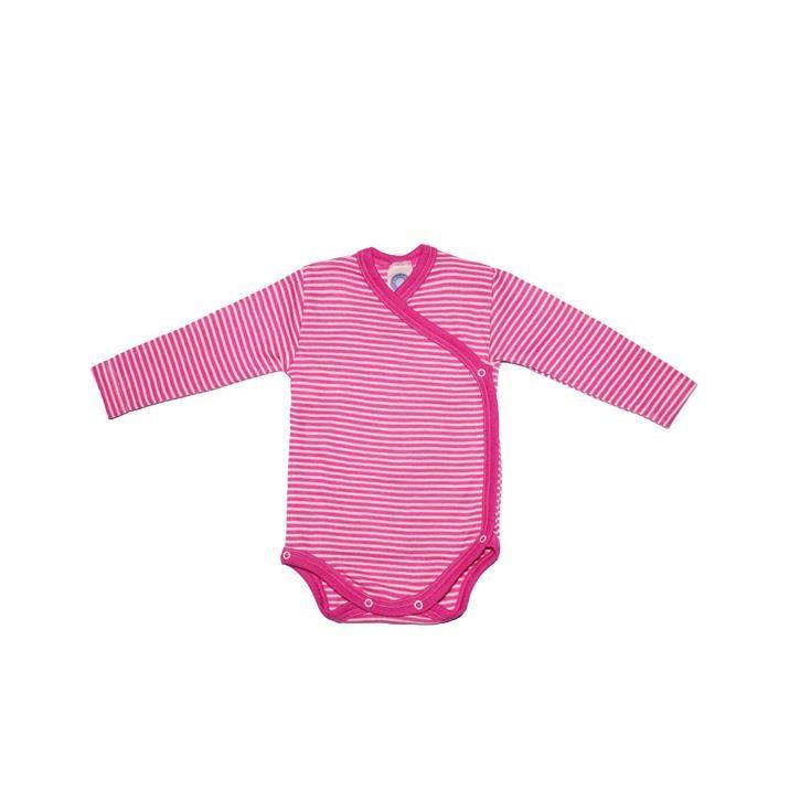 Cosilana Wickelbody 1/1 Arm pink geringelt 70% Merinoschurwolle / 30% Seide