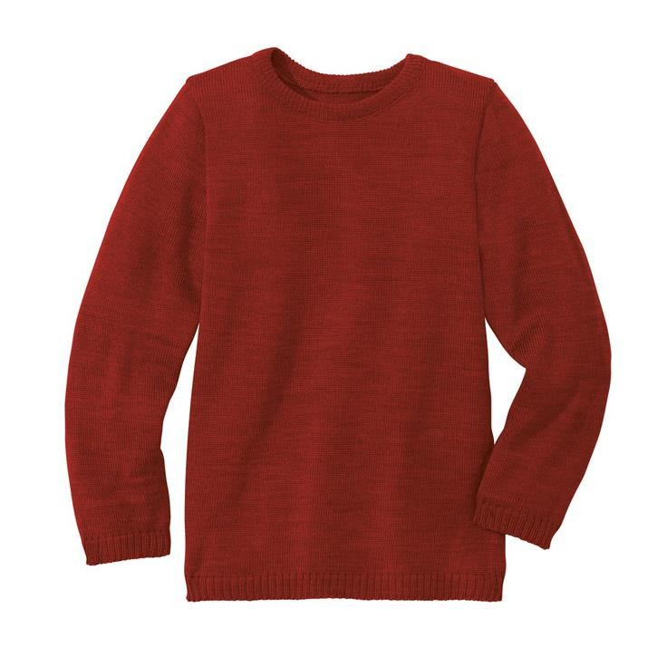 Disana Basic-Pullover bordeaux 100% kbT Schurwolle