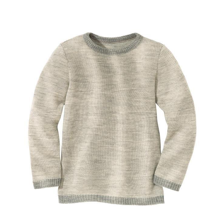 Disana Basic-Pullover Kollektion 18/19, grau-natur 100% bio-Schurwolle