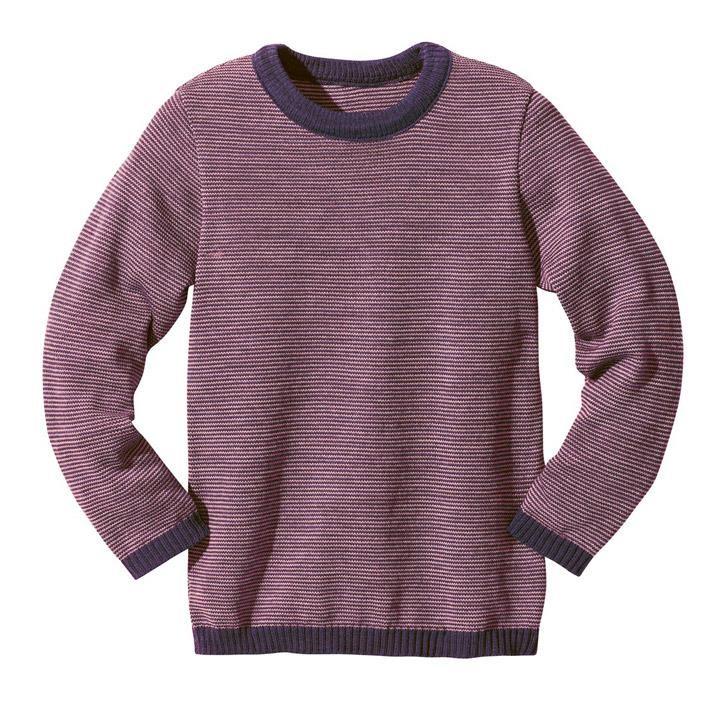 Disana Basic-Pullover pflaume/rose 100% kbT Schurwolle