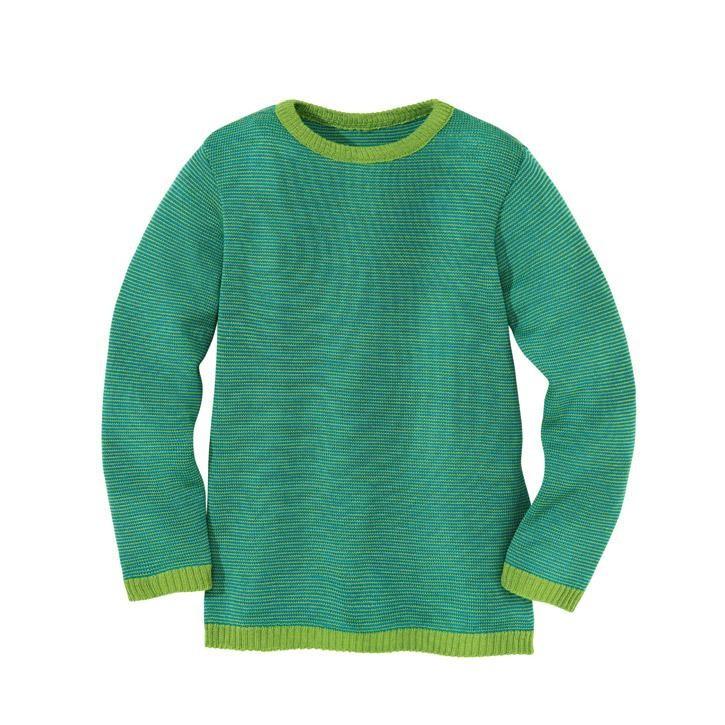 Disana Basic-Pullover Vorsaison, grün-blau 100% bio-Schurwolle