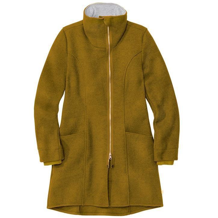 Disana Damen-Mantel gold 100% kbT Schurwolle/Futter 100% bkA Baumwolle
