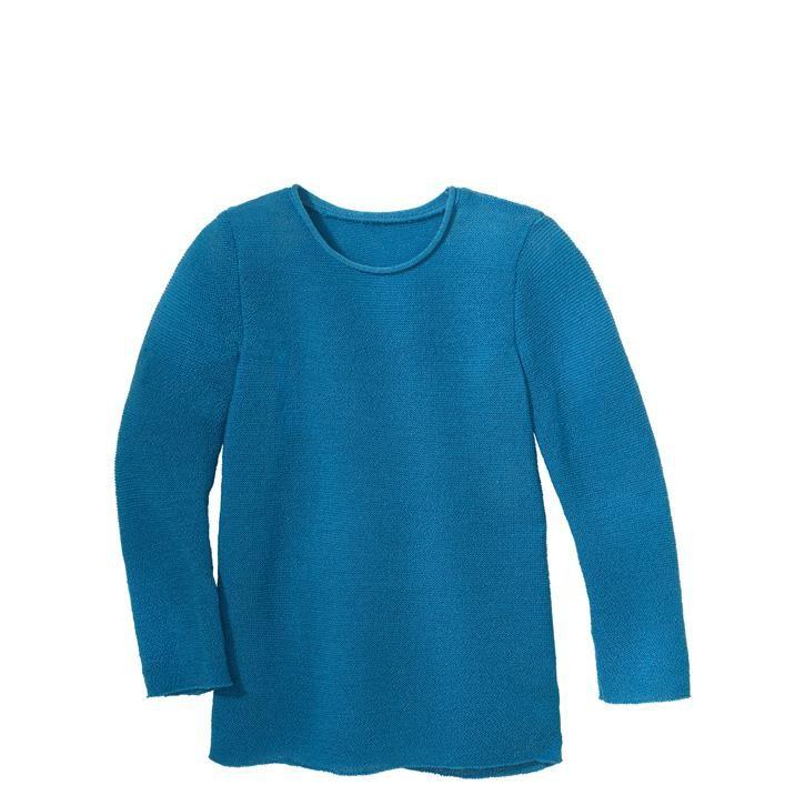 Disana Langarm-Pullover karibikblau 100% Bio-Schurwolle