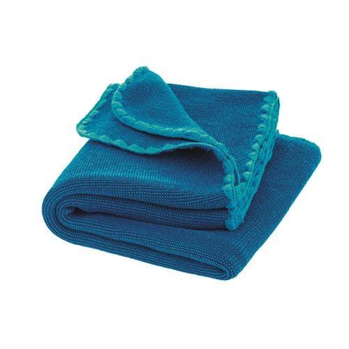 Disana Melange-Babydecke 100x80 cm blau-marine 100% bio-Schurwolle