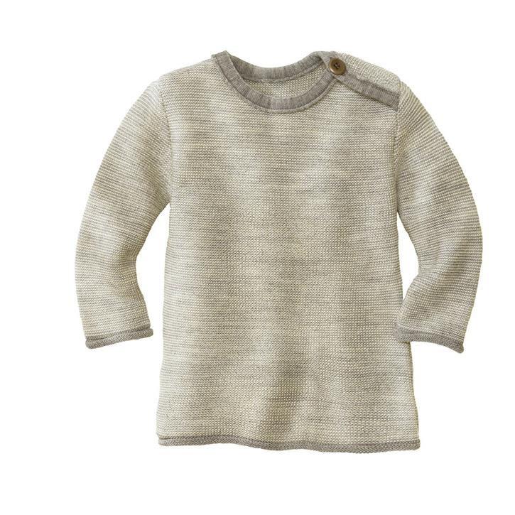 Disana Melange-Pullover grau/natur 62/68 100% kbT Schurwolle