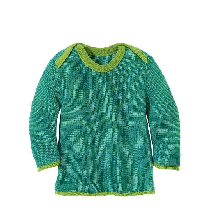 Disana Melange-Pullover Kollektion 18/19, grün-blau 100% bio-Schurwolle