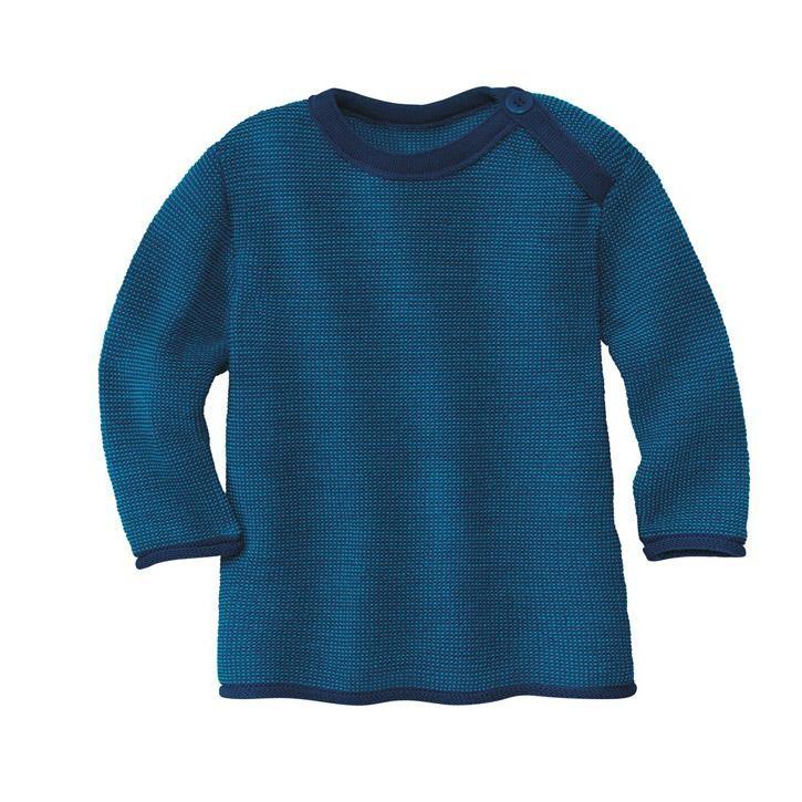 Disana Melange-Pullover marine/blau 100% kbT Schurwolle
