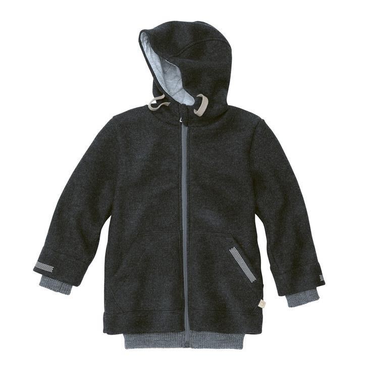 Disana Outdoor-Jacke anthrazit 100% kbT Schurwolle/Futter 100% bkA Baumwolle
