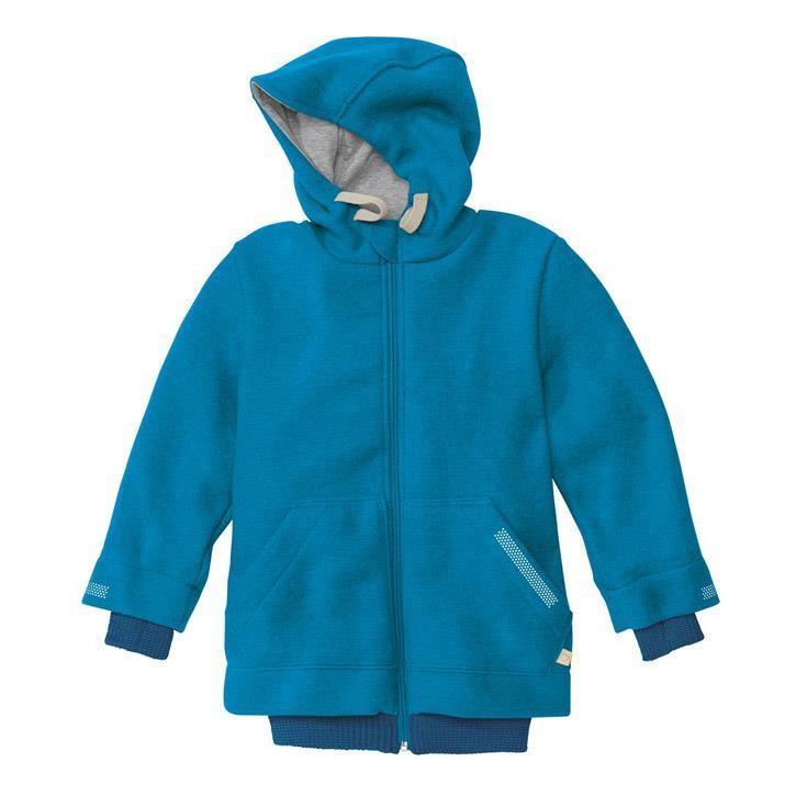 Disana Outdoor-Jacke blau 100% kbT Schurwolle/Futter 100% bkA Baumwolle