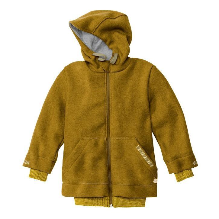 Disana Outdoor-Jacke gold 100% kbT Schurwolle/Futter 100% bkA Baumwolle