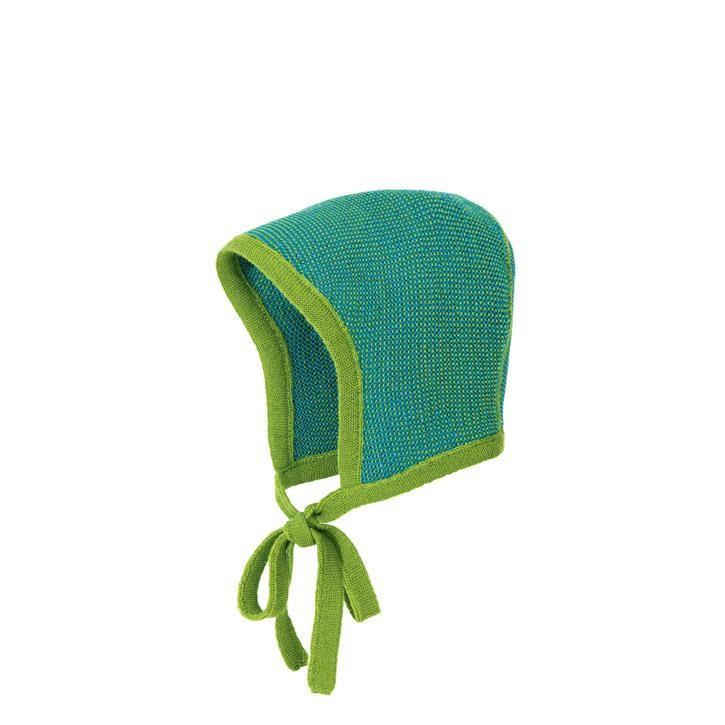 Disana Strick-Häubchen Kollektion 18/19, grün-blau 100% bio-Schurwolle