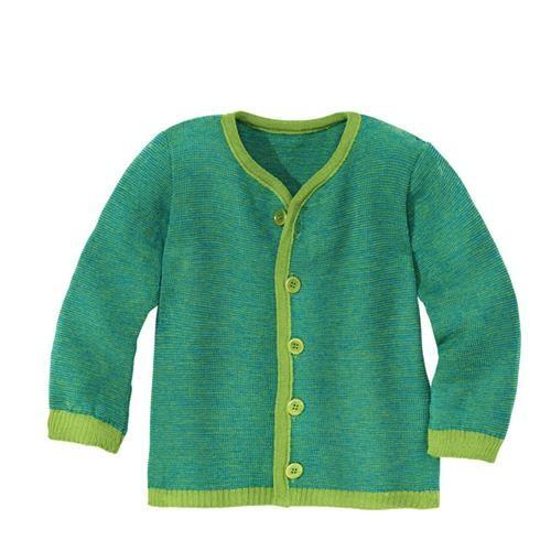 Disana Strick-Jacke 110/116 grün-blau 100% bio-Schurwolle