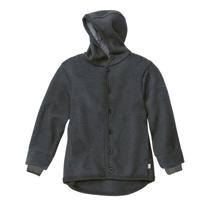 Disana Walk-Jacke anthrazit 100% kbT Schurwolle/Futter 100% bkA Baumwolle