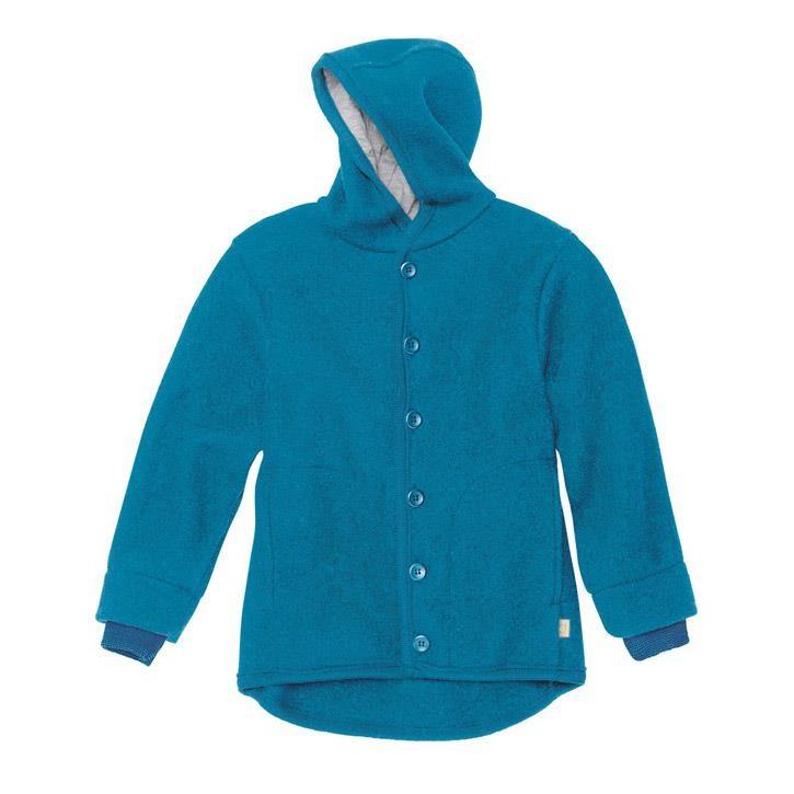 Disana Walk-Jacke blau 100% kbT Schurwolle/Futter 100% bkA Baumwolle